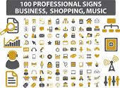 100 mega professional signs: business, music, shopping. vector