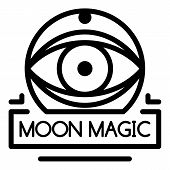 Moon Magic Icon. Outline Moon Magic Vector Icon For Web Design Isolated On White Background poster