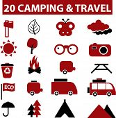 20 camping & travel signs. vector