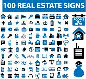 100 real estate signs. vector
