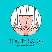 Beauty Hairdresser Salon Woman Logo Design  Template Circle Shape. Spa, Fashion, Makeup, Hairdressin poster