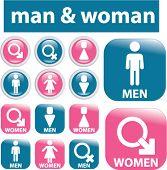man & woman glossy signs. vector
