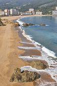Spanish Traditional Basque Coastline Country Beach Of Bakio. Spain Tourism poster