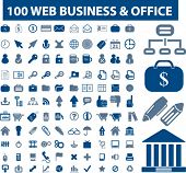 100 web business and office signs. vector