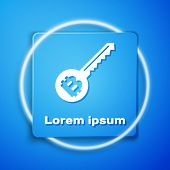 White Cryptocurrency Key Icon Isolated On Blue Background. Concept Of Cyber Security Or Private Key, poster