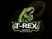 T-rex Head Mascot Sports Logo. T Rex Head Mascot Sports Emblem Illustration With Hand. Tyrannosaur L poster