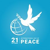 International Peace Day - White Dove With Leaf And Line World Sign On Blue Background Vector Design poster