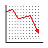 Trend Down Graph Icon. Stock Icon On White Background. Flat Style. Financial Market Crash Icon For Y poster
