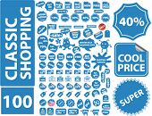 100 classic shopping stickers. vector