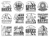 Egypt Travel And Cairo Landmarks Icons. Vector Ancient Egyptian Pharaoh Pyramids, Sphinx And Mummy,  poster