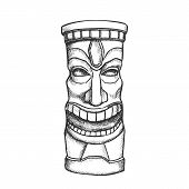 Tiki Idol Carved Wooden Laughing Totem Ink Vector. Mayan Mystery Tribal Indigenous Sculpture Idol Go poster