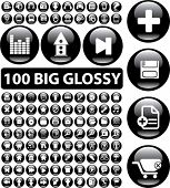 100 big glossy buttons. vector