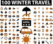 100 winter travel signs. vector