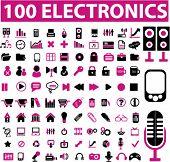 100 glamor electronics icons, vector