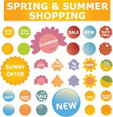 spring & summer shopping stickers & labels, vector