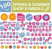100 Primavera & Verão loja símbolos, rótulos, elementos, vetor