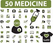 50 medicine & health icons, signs, vector illustrations