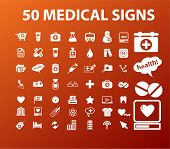 50 medical & health icons, signs, vector illustrations