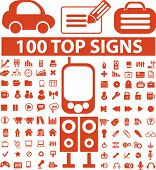 100 top icons, signs, vector illustrations