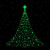 Shining Christmas Tree Made Of Shining And Sparkles Snowflakes And With Colorful Garlands. Merry Chr poster