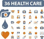 36 health care icons, signs, vector