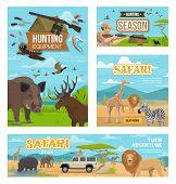 African Safari Hunt, Hunting Open Season, Wild Animals And Birds. Vector Hunter Equipment, Rifles An poster