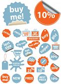 shopping sales stickers, icons, signs, vector illustrations