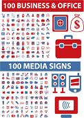 200 business & office & media icons, signs, vector illustration