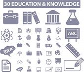 30 education & knowledge icons, signs, vector set