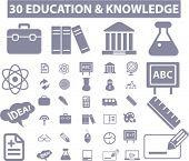 30 educación & los iconos de conocimientos, signos, conjunto de vectores