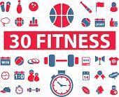 30 ícones de fitness, sinais, ilustrações de vetor
