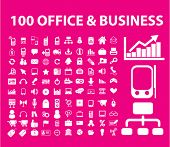100 office & business icons, signs, vector illustrations
