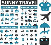 100 sunny travel icons, signs, vector illustrations