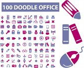 100 doodle office icons set, vector
