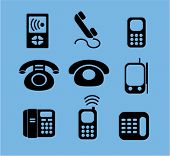 phone icons, signs, vector illustrations set
