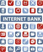 internet bank buttons, icons, signs, vector illustrations