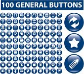 100 general buttons, icons, signs, vector illustrations