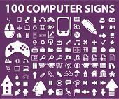 100 computer icons, signs, vector illustrations