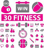 fitness & sport icons, signs, vector illustrations set