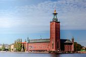 Stockholm, Sweden. Scenic Skyline View Of Famous Tower Of Stockholm City Hall. Building Of Municipal poster