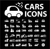 ícones de carros, conjunto de sinais, ilustrações de vetor