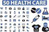 50 health care icons set, signs, vector illustrations