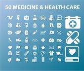 50 medicine & health care icons set, vectr
