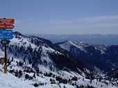 image of snowbird  - View of the Wasatch mountains from the top of Snowbird resort - JPG