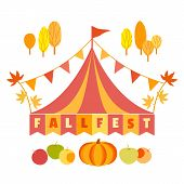 Hand Drawn Fall Fest Tent Simple Flat Color Vector Icon. Fall Fair Event Design Element. Autumn Harv poster
