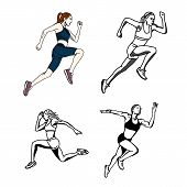 Vector Set Of Female Sprinter, Hand Drawn And Coloring Running, Sprinter, Athlete Isolated On White poster