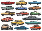 Vintage Vector Retro Cars And Vehicle Isolated Objects. Old Classic And Antique Vehicle Models Of Mu poster