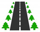 Vector Straight Road Alley Flat Icon. Vector Pictograph Style Is A Flat Symbol Straight Road Alley I poster