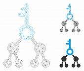 Mesh Binary Key Model With Triangle Mosaic Icon. Wire Carcass Polygonal Mesh Of Binary Key. Vector C poster