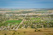 town of Scottsbluff and North Platte RIver in Nebraska, earial view from a summit of Scotts Bluff Na poster